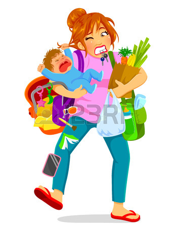 350x450 Stressed Woman Carrying A Crying Baby And A Lot Of Luggage Royalty