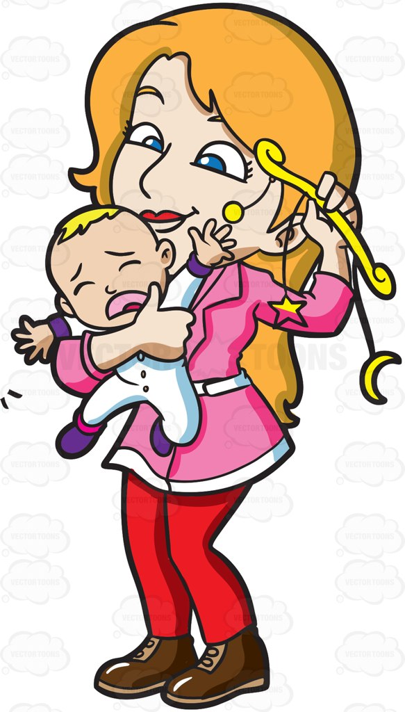 583x1024 A Mother Comforting Her Crying Baby Boy With A Toy Cartoon Clipart