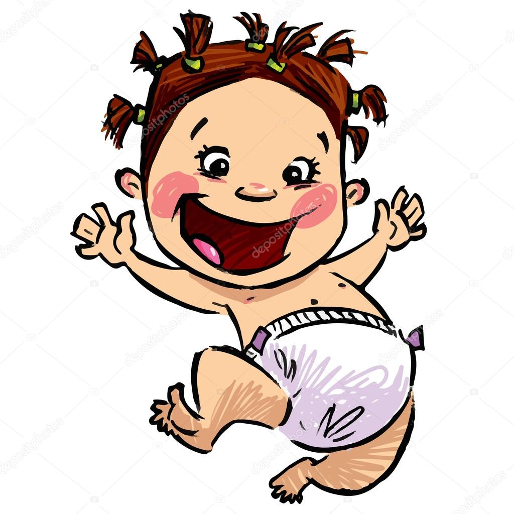 1024x1024 Cartoon Baby Girl With Diapers And Funny Hair Jumping High Stock