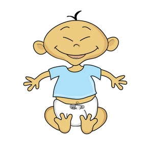 300x300 Colored Clip Art Baby Sitting In Diaper No Shirt Clipart