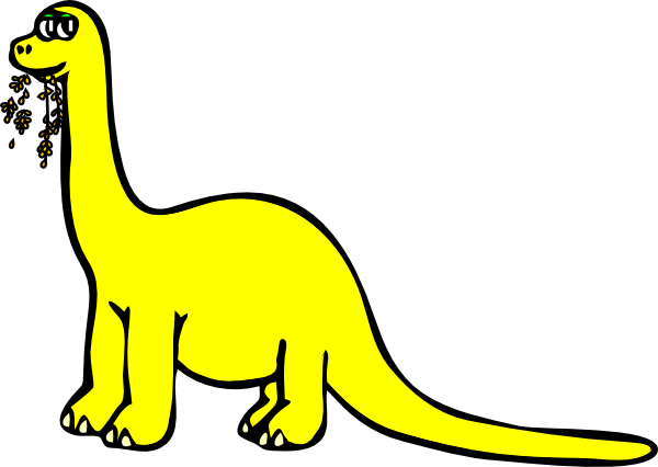600x426 Yellow Cartoon Dinosaur Clip Art