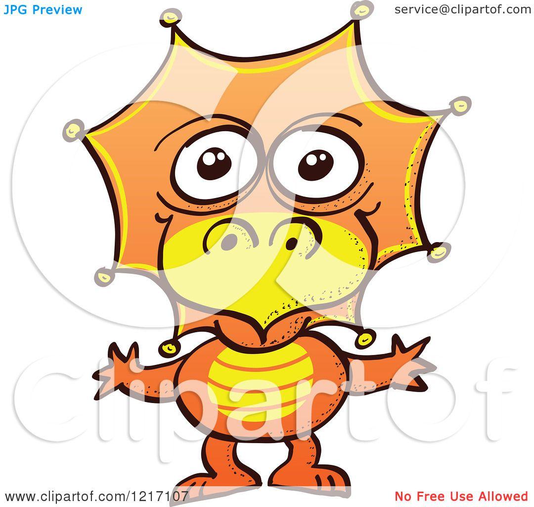1080x1024 Clipart Of A Cute Orange Baby Dinosaur