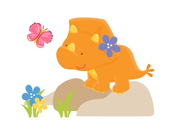 570x441 Dinosaur Triceratops Wall Mural Decal Baby Girl Nursery Decor [764