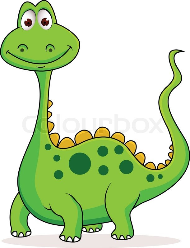 611x800 Cute Green Dinosaur Cartoon Stock Vector Colourbox