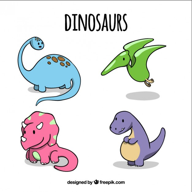 626x626 Hand Drawn Lovely Baby Dinosaurs In Colors Vector Premium Download