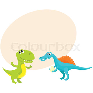 320x320 Set Of Cute And Funny Smiling Baby Dinosaurs, Cartoon Vector