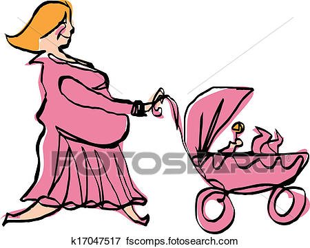 450x361 Clip Art Of Happy Pregnant Mother In Pink Dress Pushing Baby Girl