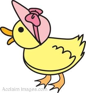 278x300 Clipart Of A Baby Duck Wearing A Pink Bonnet