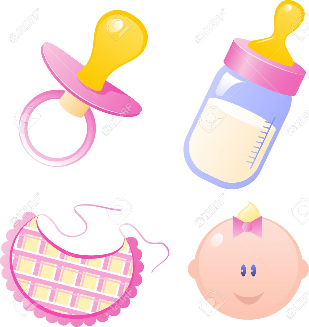 1226x1300 Pink Vector Baby's Dummy, Baby Bottle, Bib And Baby Girl. Isolated