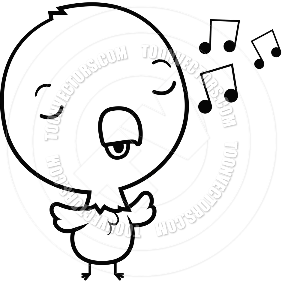 940x940 Cartoon Baby Eagle Singing (Black And White Line Art) By Cory