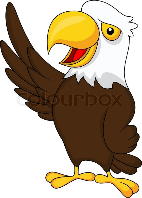 576x800 Eagle Cartoon Waving Stock Vector Colourbox