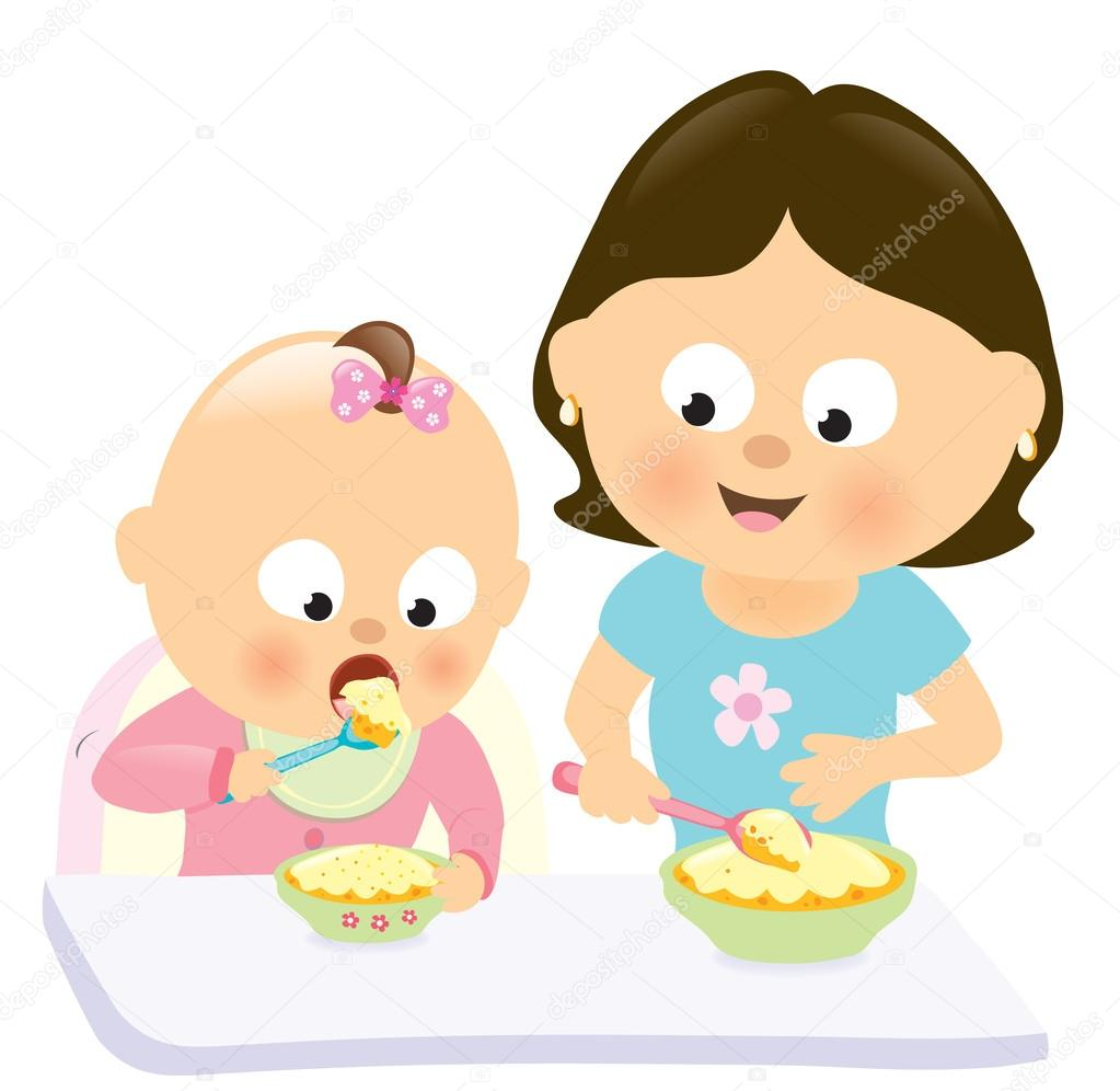 1023x996 Baby Girl Eating W Mom Watching Her Stock Vector Wetnose