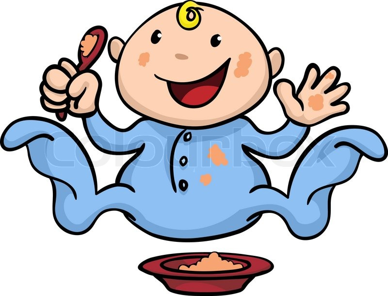 800x612 Clipart Illustration Of A Happy Cute Baby Weaning Playing