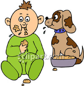 296x300 Toddler Eating Dog Food With A Puppy Royalty Free Clipart Picture