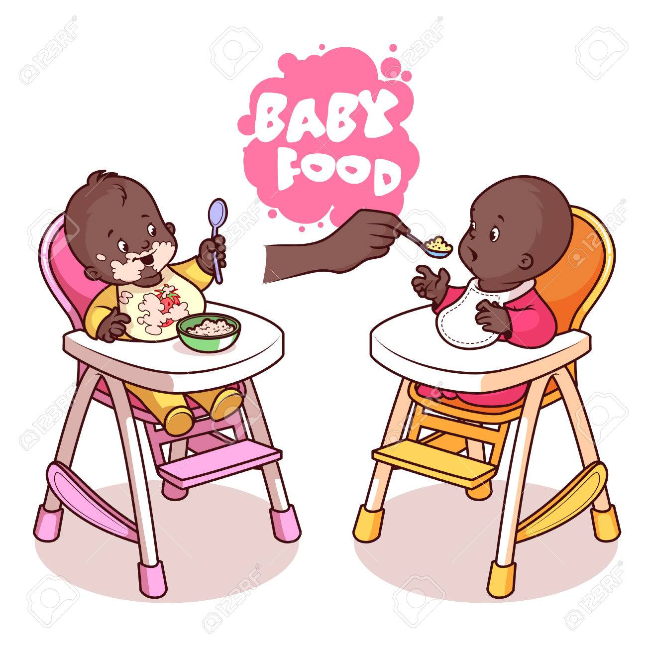 1300x1300 Two Kids In Baby Highchair With Plate Of Porridge. Vector Clip Art