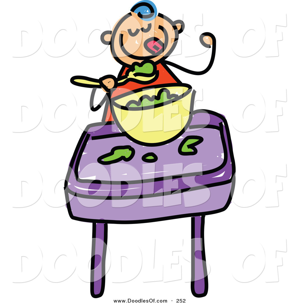 1024x1044 Vector Clipart Of A Childs Sketch Of A Happy Baby Boy Eating Food