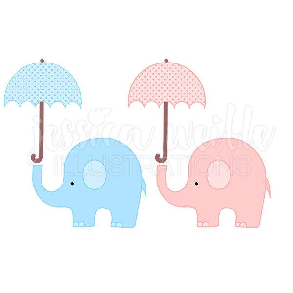 600x600 Baby Elephant With Umbrella Cute Digital Clipart Elephant