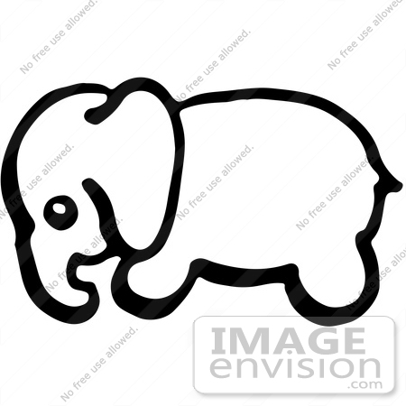 450x450 Clipart Of A Baby Elephant In Profile In Black And White