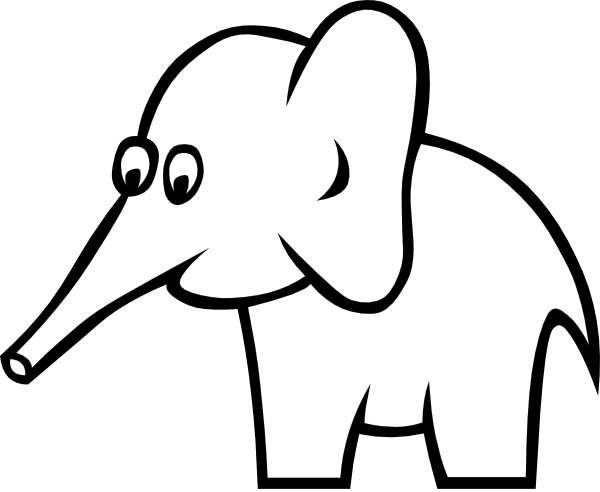 600x492 Image Of Elephant Clipart Black And White