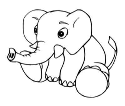 Baby Elephant Outline