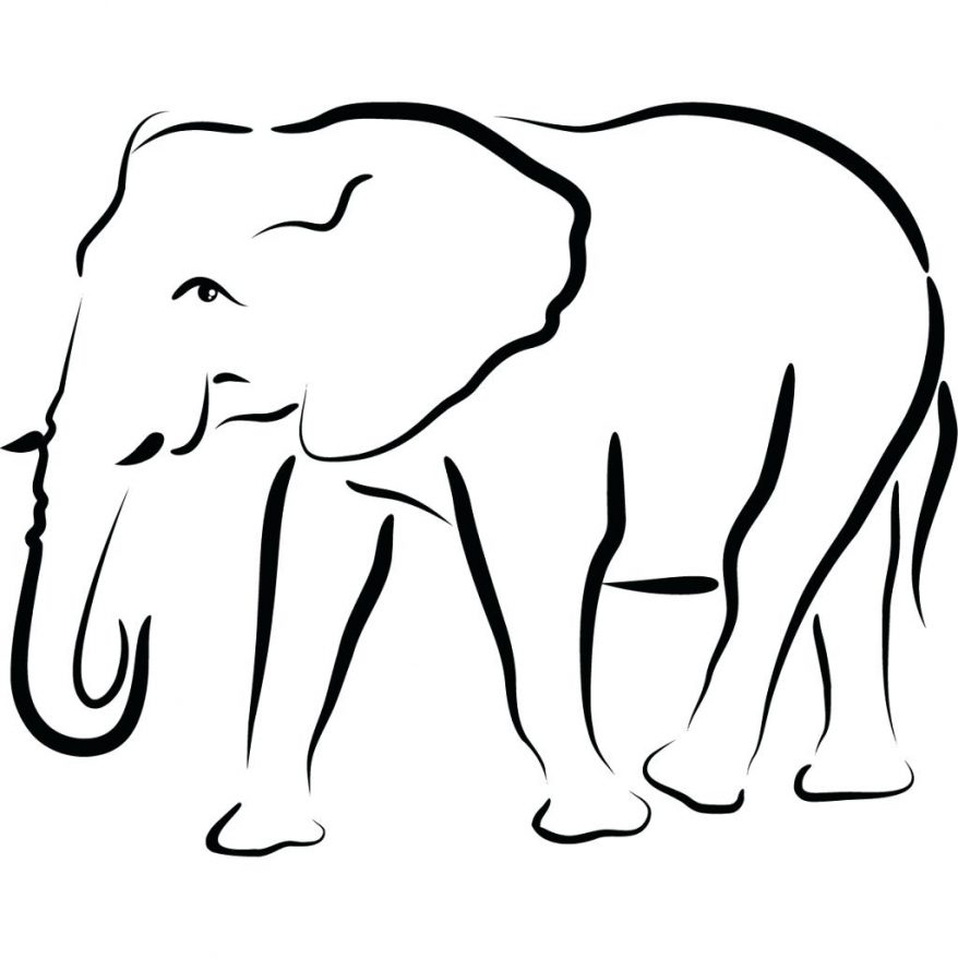878x878 Simple Drawing Of Elephant Outline 77 Interesting Template Indian