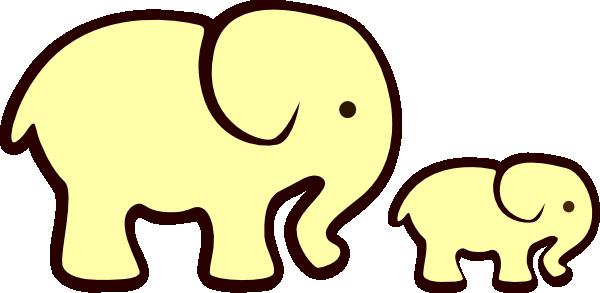 600x293 Mommy And Baby Elephant Cartoon Yellow Elephant Mom Amp Baby Clip