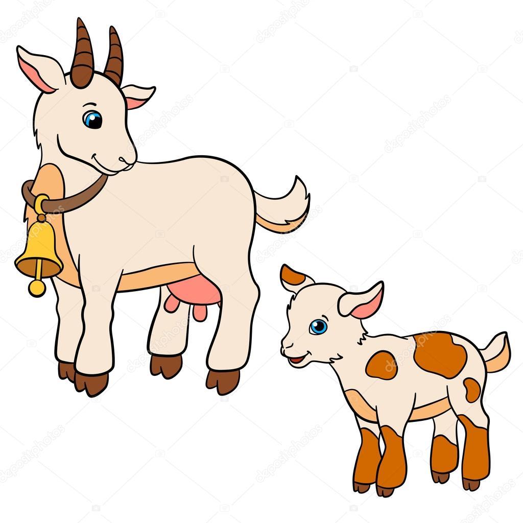 1024x1024 Cartoon Farm Animals For Kids. Mother Goat Looks