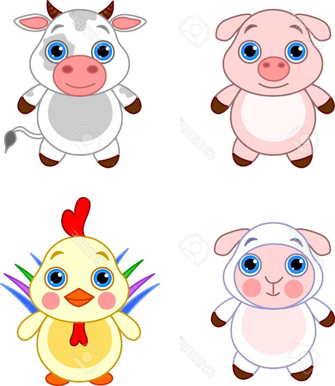 1129x1300 Unique Cute Funny Baby Farm Animals Set Stock Vector Pig Cartoon