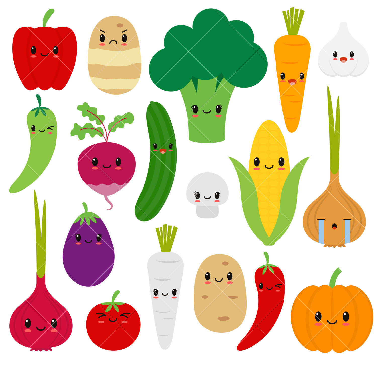 1500x1500 Kawaii Vegetables Cute Vegetable Clipart Happy Veggies
