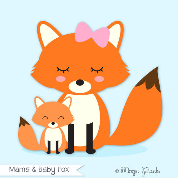 570x570 Fox clip art, Mama and Baby Fox clipart, Forest Animals clip art