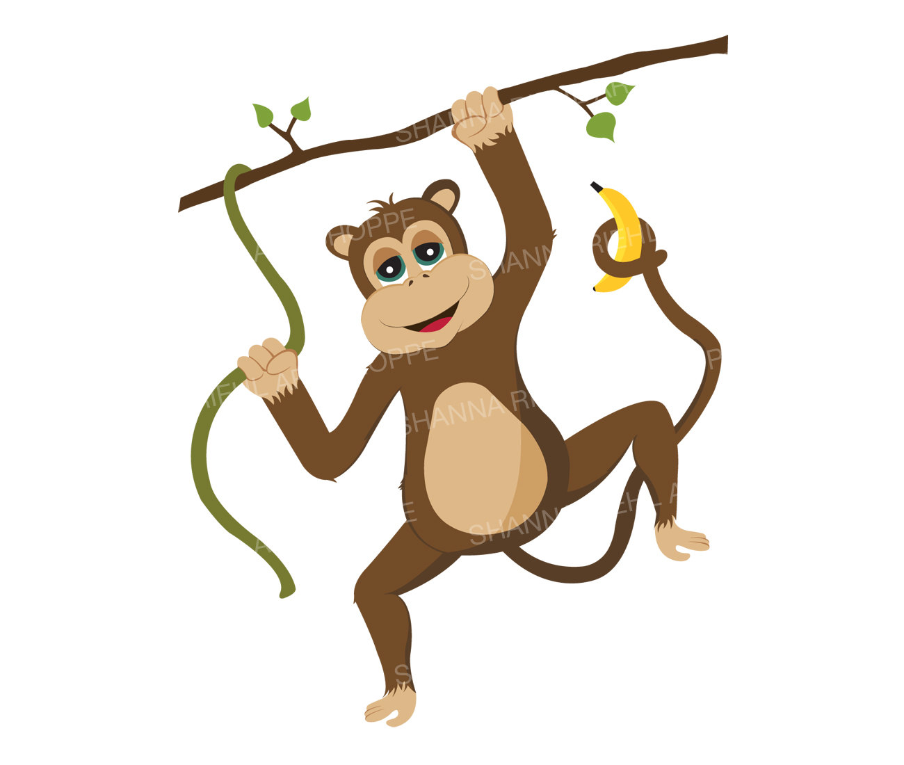 1300x1100 Monkey Clipart Safari Animals Printable Art Commercial Use