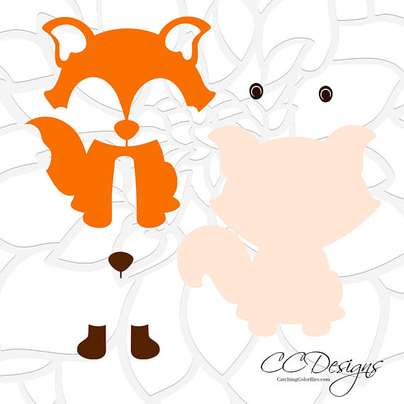 570x570 Cute Baby Fox SVG amp DXF Cutting Files PNG Baby Fox Clip Art