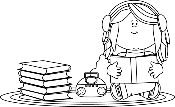 600x368 Black And White Girl Listening To A Book On A Cd Player Clip Art