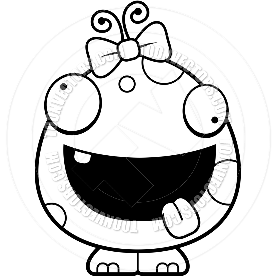 940x940 Cartoon Baby Girl Alien Monster Crazy (Black And White Line Art