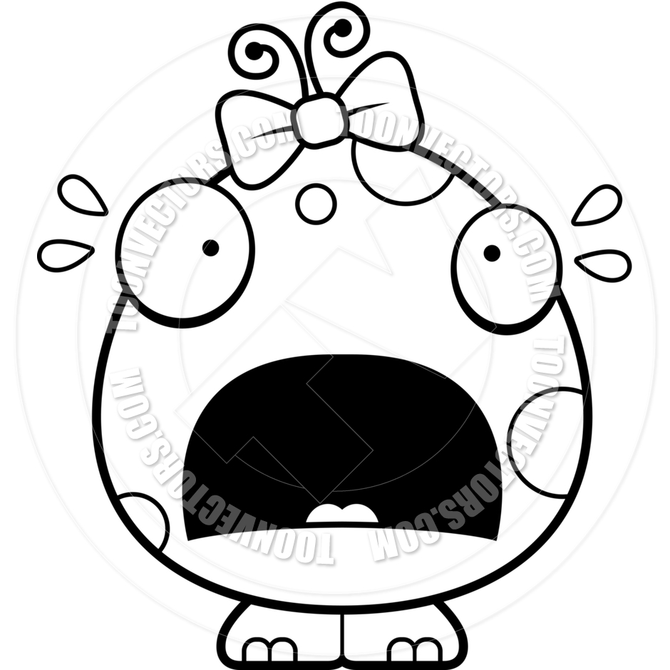940x940 Cartoon Baby Girl Alien Monster Scared (Black And White Line Art