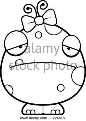 300x421 A Cartoon Illustration Of A Baby Girl Monster Looking Hungry Stock