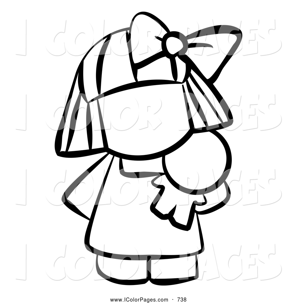 1024x1044 Vector Coloring Page Of A Black And White Human Factor Girl
