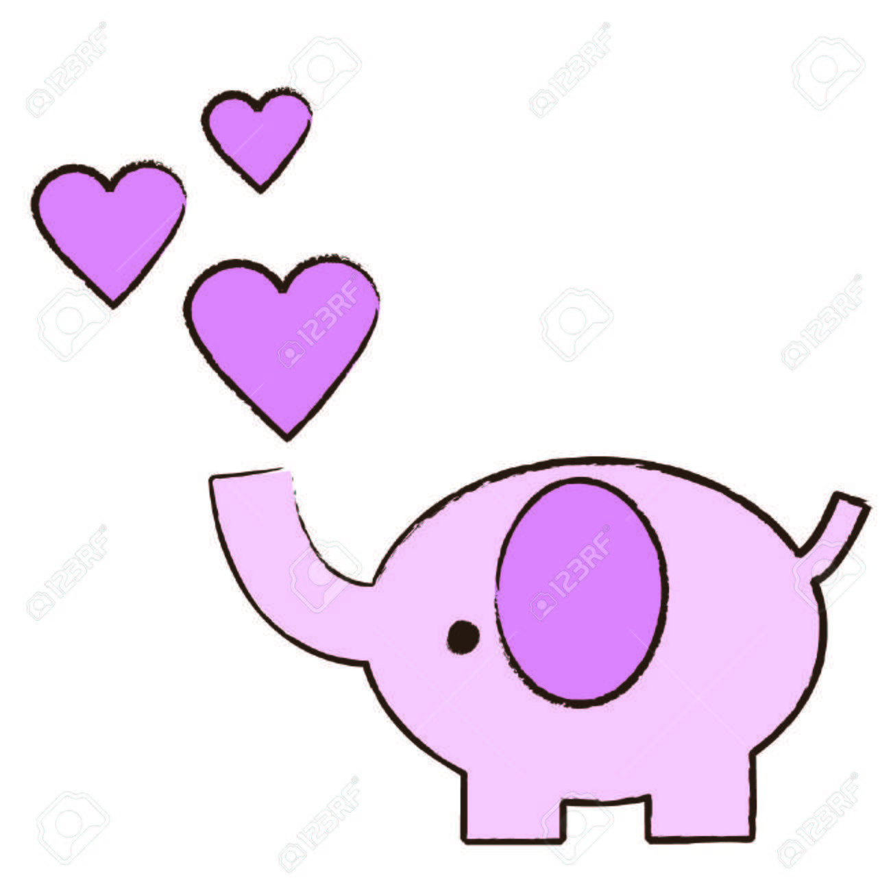 1300x1300 Baby Pink Elephant Blowing Hearts Royalty Free Cliparts, Vectors