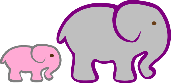 600x292 Pink And Grey Elephant Clipart
