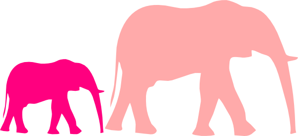 600x274 Pink Baby Shower Elephant Mom And Baby Clip Art