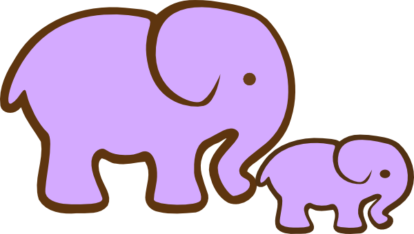 600x340 Purple Elephant And Baby Clip Art
