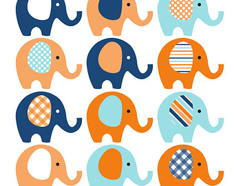340x270 Pink And Grey Elephant Clip Art Instant Download Baby Girl
