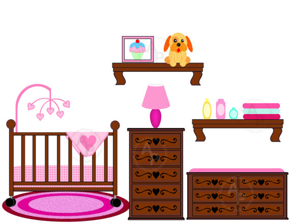 570x440 Baby Girl Nursery Crib Changing Table Digital Clip Art Set