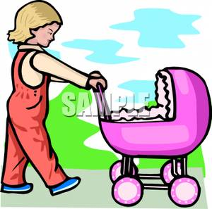 300x297 Little Girl Pushing A Toy Baby Doll Stroller