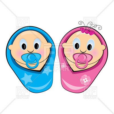 400x400 Baby Boy And Girl Royalty Free Vector Clip Art Image