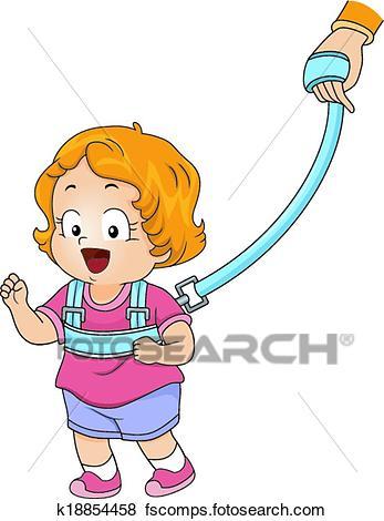 347x470 Clip Art Of Baby Girl Backpack Leash K18854458