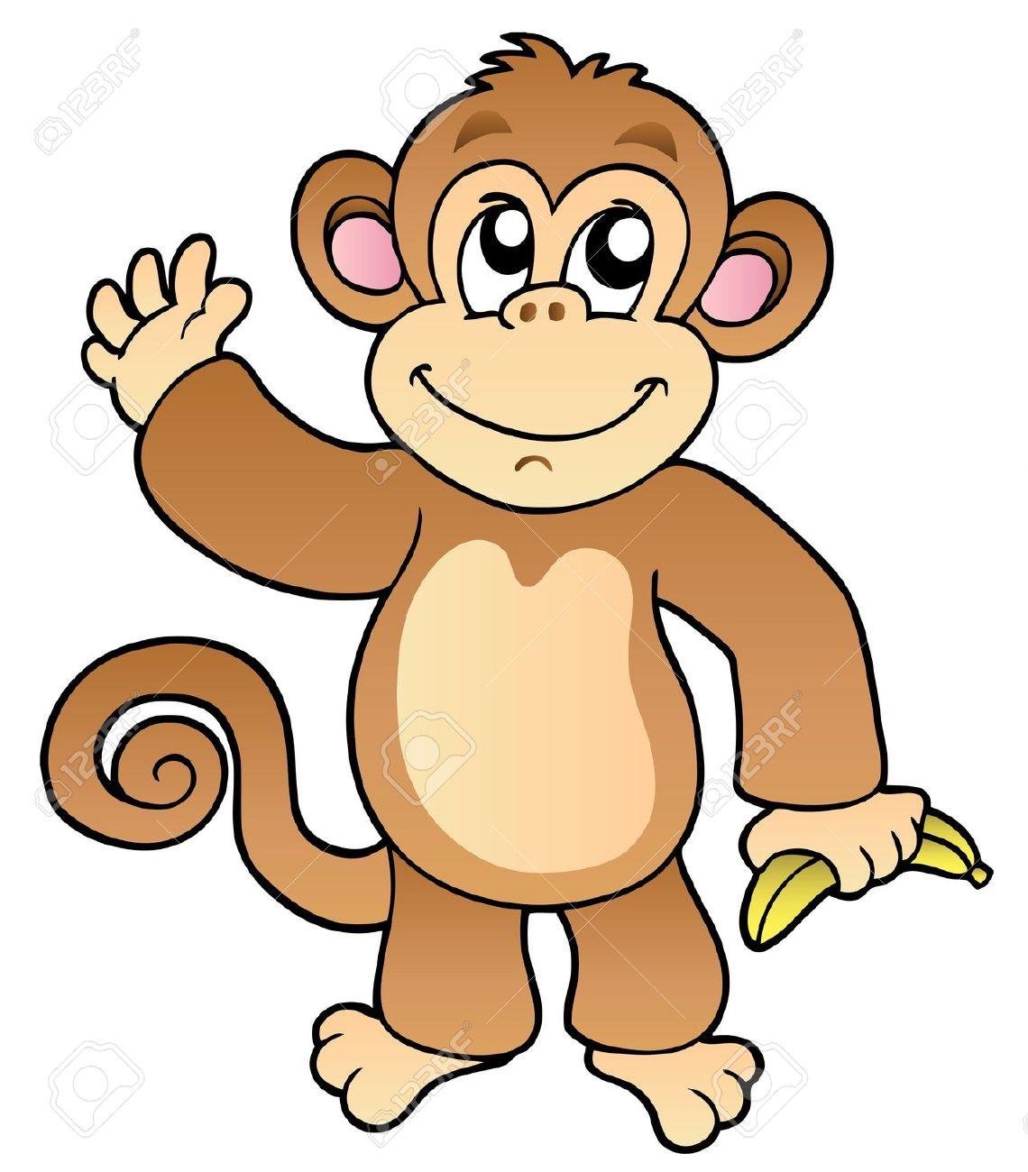 1140x1300 8475508 Cartoon Waving Monkey With Banana Illustration Stock