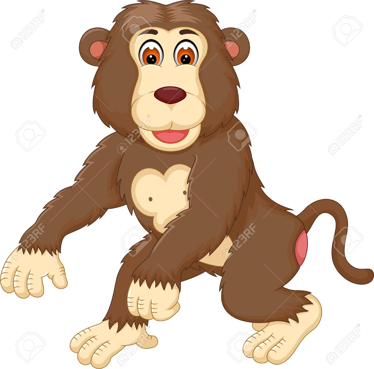 1300x1284 Cute Gorilla Cartoon Walking With Smile Royalty Free Cliparts