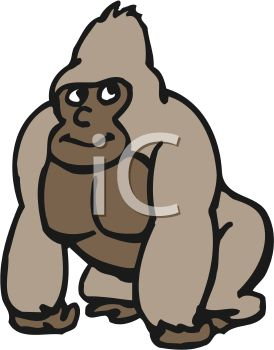 274x350 Picture Of A Gorilla Standing On A White Background In A Vector