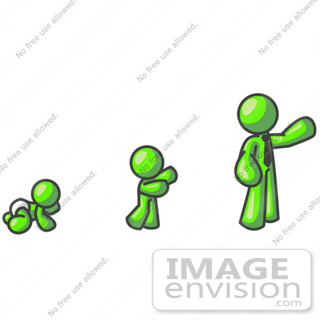 450x450 Clip Art Graphic Of A Lime Green Guy Character Growing From A Baby